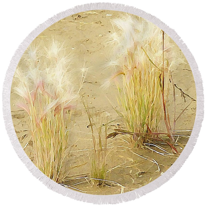 Wild Grass Round Beach Towel featuring the photograph Wild Grasses by Kathleen Voort