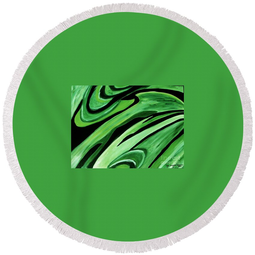 Painting Round Beach Towel featuring the painting Wild Green by Yael VanGruber