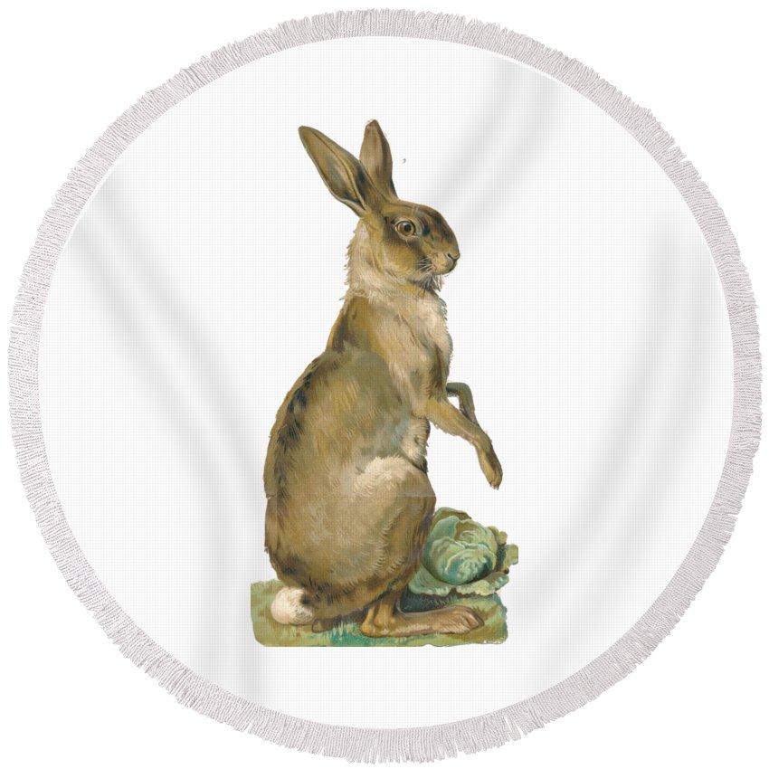 Rabbit Round Beach Towel featuring the digital art Wild Hare by ReInVintaged