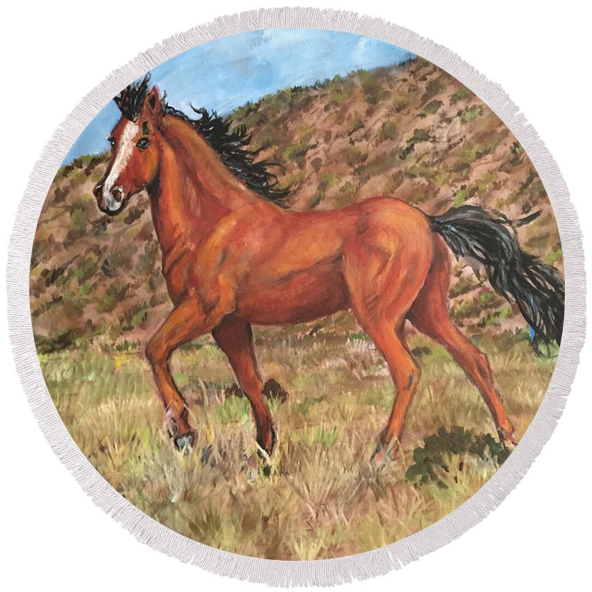 Will Horse Walking Among The Hills. Horse Round Beach Towel featuring the painting Wild Horse In Virginia City, Nevada by Charme Curtin