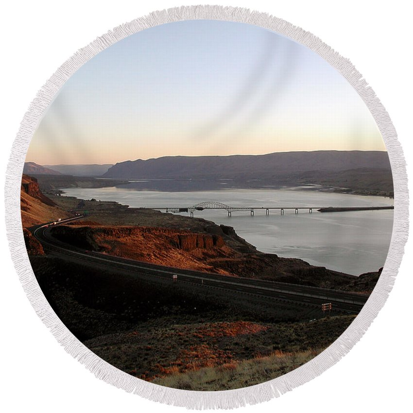 Columbia River Round Beach Towel featuring the photograph Wild Horse Lookout - Washington by D'Arcy Evans