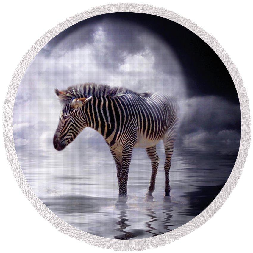 Zebra Round Beach Towel featuring the mixed media Wild In The Moonlight by Carol Cavalaris