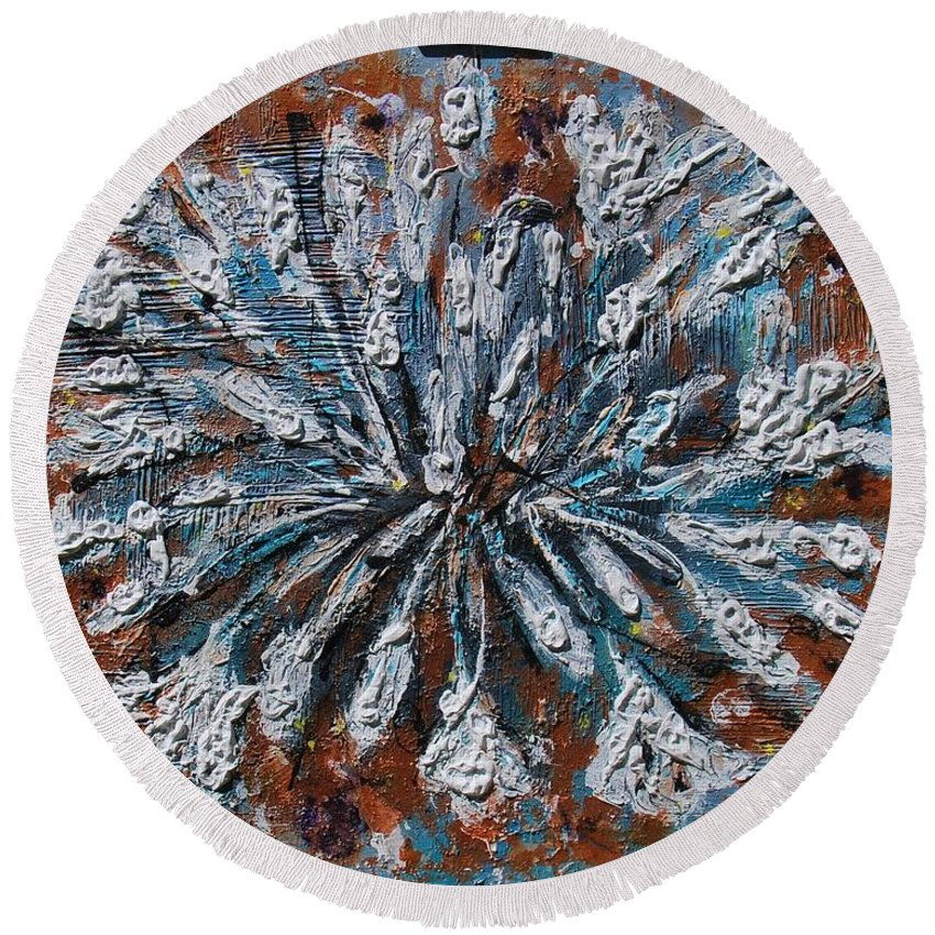 Acrylic Round Beach Towel featuring the painting Wild Lily by Mihai Banutoiu