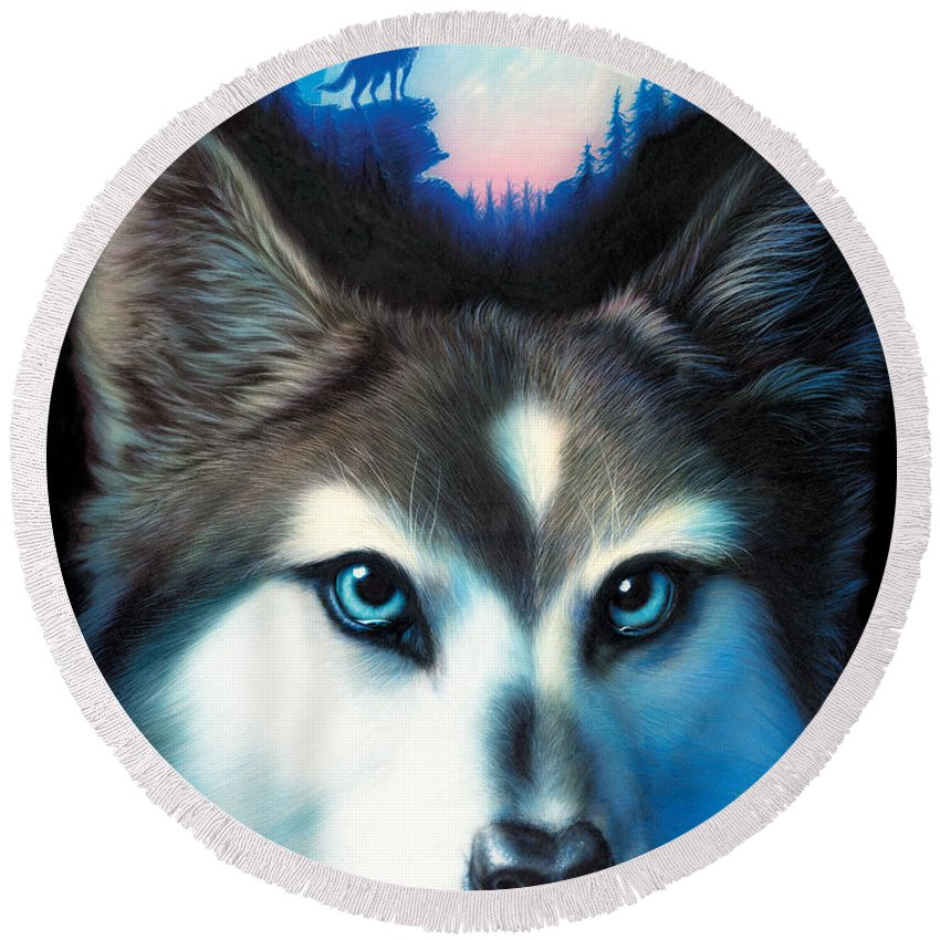 Wolf Round Beach Towel featuring the photograph Wild One by MGL Meiklejohn Graphics Licensing