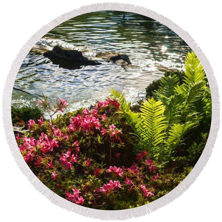 Georgia Mizuleva Round Beach Towel featuring the digital art Wild Rhododendrons And Ferns By The Silver River by Georgia Mizuleva