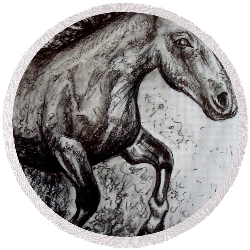 Horse Round Beach Towel featuring the painting Wild Stallion by Elizabeth Robinette Tyndall