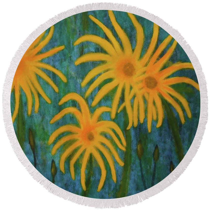 Yellow Round Beach Towel featuring the painting Wild Sunflowers by John Scates