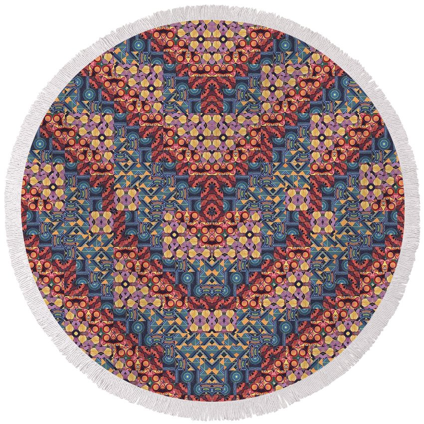 Abstract Round Beach Towel featuring the digital art Wild Things - A T J O D 5-6 Compilation by Helena Tiainen