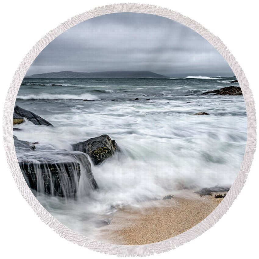 South Harris Round Beach Towel featuring the photograph Wild Weather At Geodha Mhartainn On The Isle Of Harris by Janet Burdon