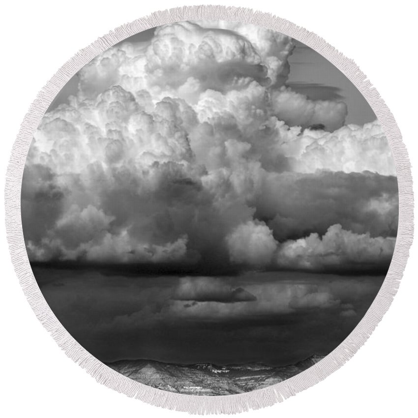 Weather Round Beach Towel featuring the photograph Wild Weather by Marilyn Hunt