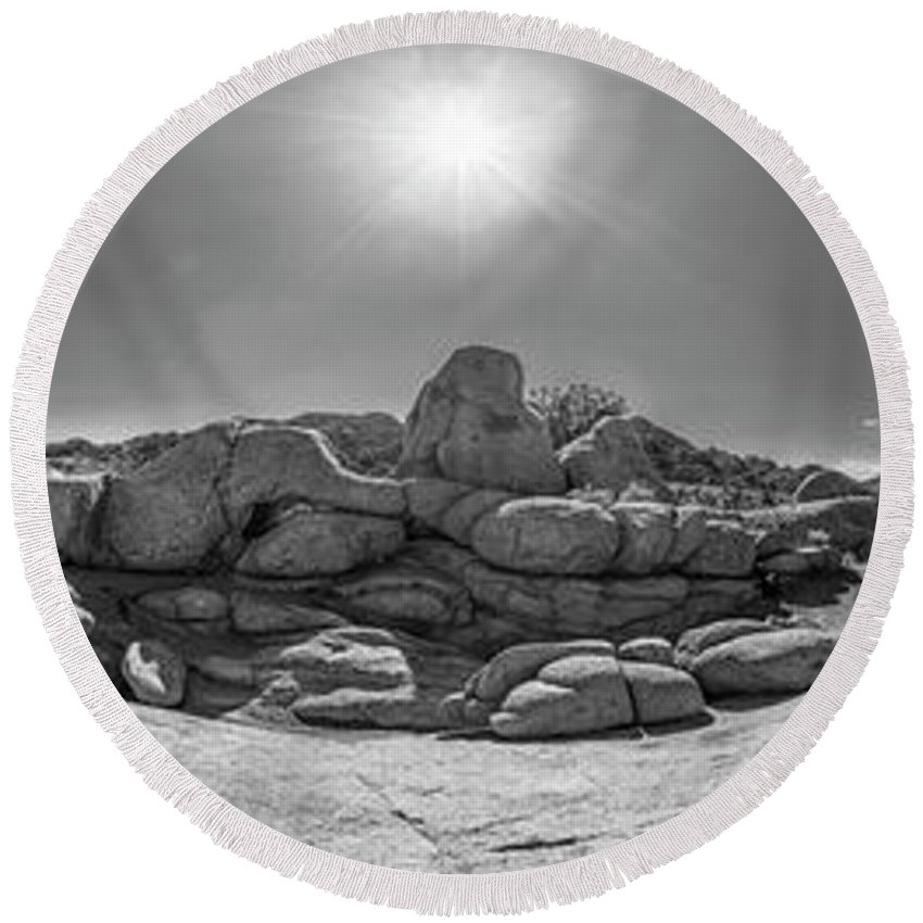 Joshua Tree Round Beach Towel featuring the photograph Wild West Rocks by Scott Campbell