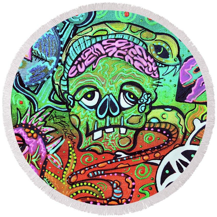 Abstract Round Beach Towel featuring the painting Wild Zombie by Laura Barbosa