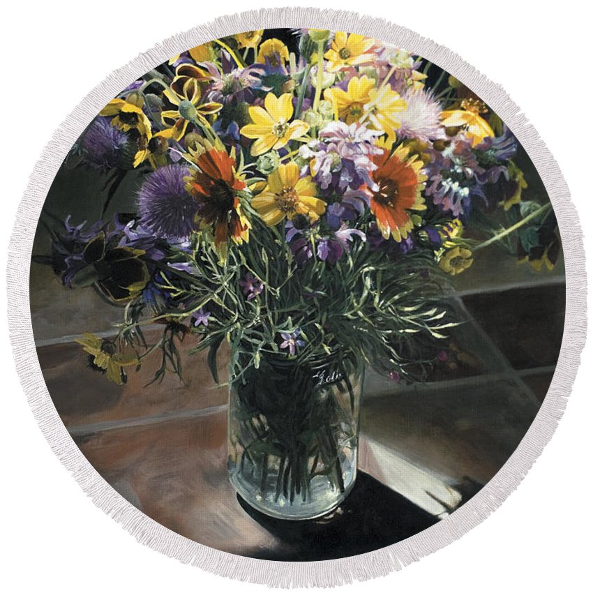 Texas Round Beach Towel featuring the painting Wildflower Bouquet II by Rebecca Zook