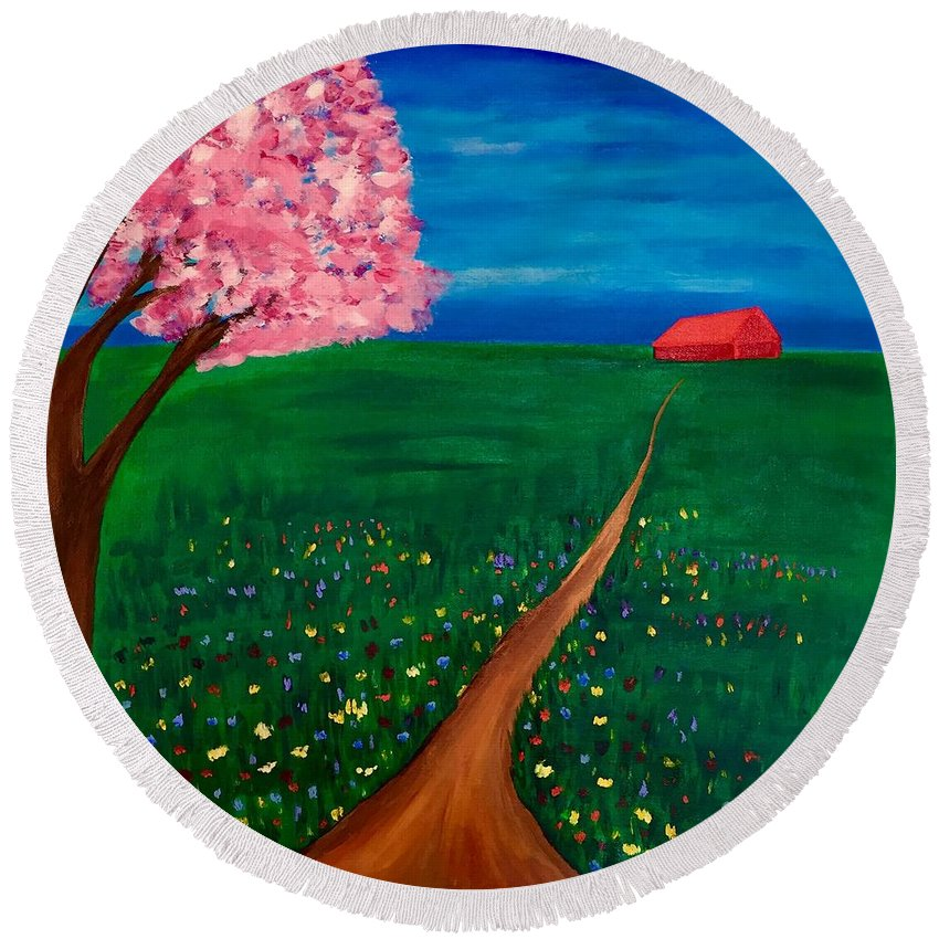 Painting Round Beach Towel featuring the painting Wildflower Country Road by Gail Nandlal