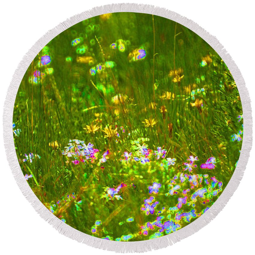 Wildflower Round Beach Towel featuring the photograph Wildflower Field by Heather Coen