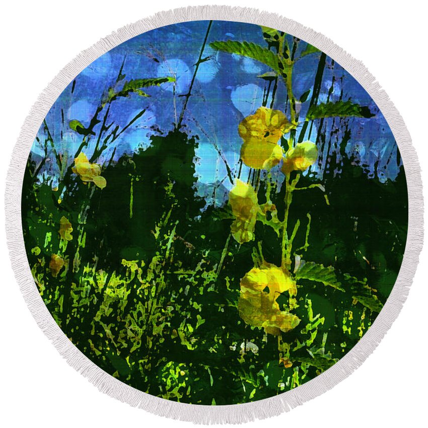 Yellow Wildflowers Round Beach Towel featuring the photograph Wildflower Field by Shawna Rowe