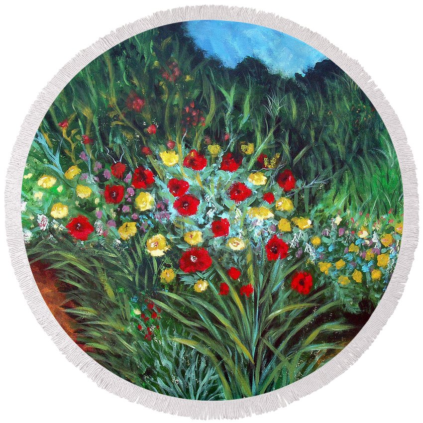 Abstract Round Beach Towel featuring the painting Wildflower Garden 1 by Nancy Mueller