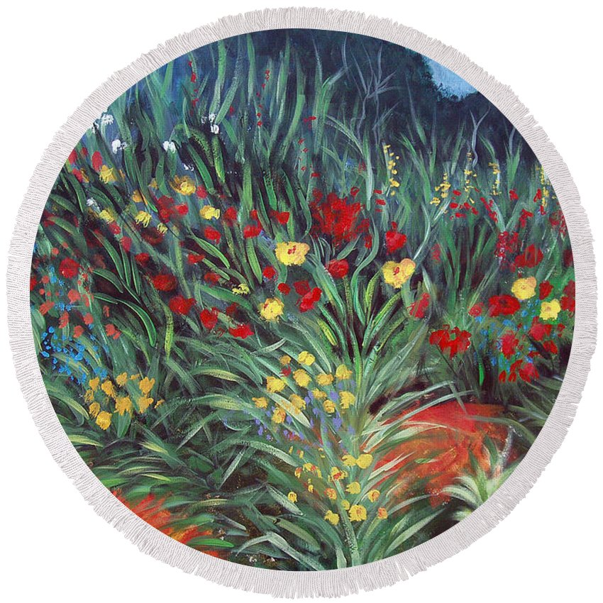 Landscape Round Beach Towel featuring the painting Wildflower Garden 2 by Nancy Mueller
