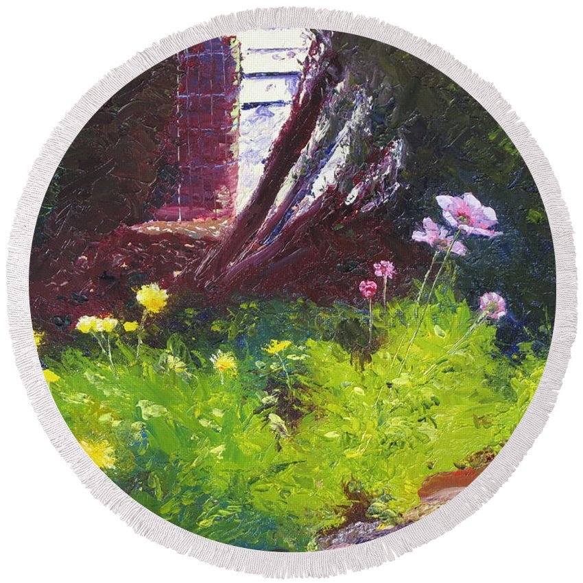 Landscape Round Beach Towel featuring the painting Wildflower Garden by Lea Novak