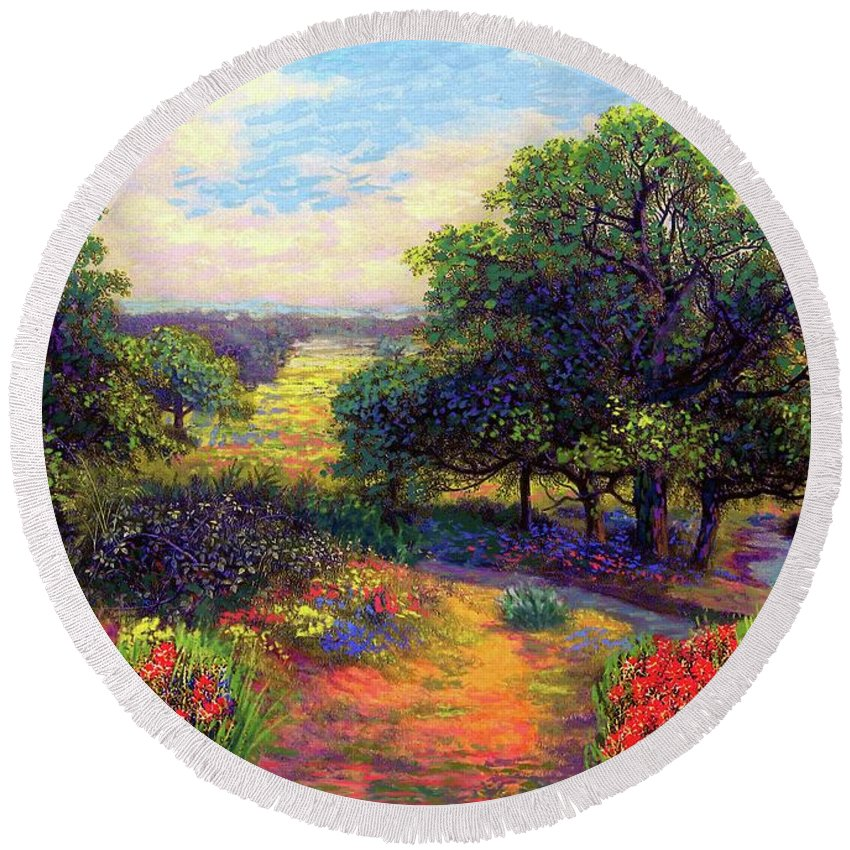 Wildflower Round Beach Towel featuring the painting Wildflower Meadows Of Color And Joy by Jane Small
