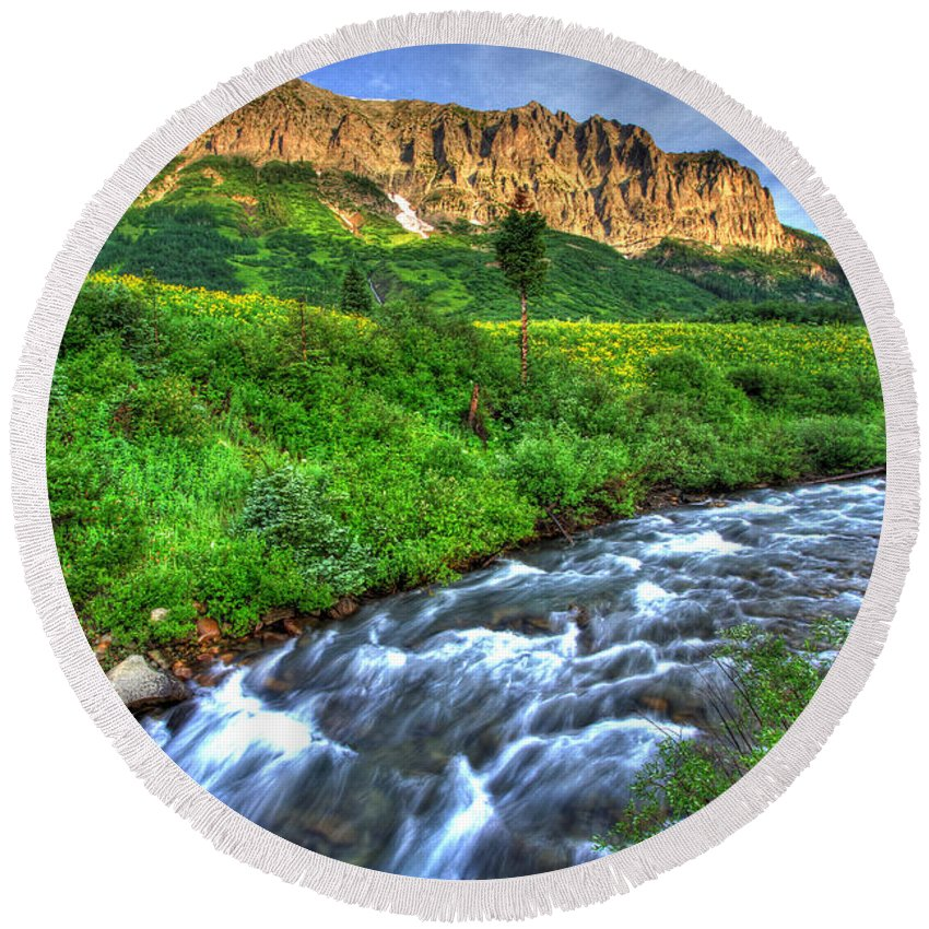 Photo Round Beach Towel featuring the photograph Wildflower River by Scott Mahon