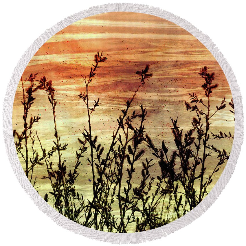 Wildflowers On Copper Round Beach Towel featuring the digital art Wildflower Sunrise by Shawna Rowe