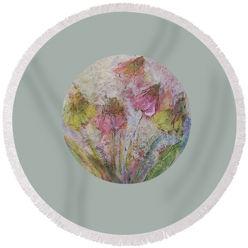Wildflowers Round Beach Towel featuring the painting Wildflowers 2 by Mary Wolf