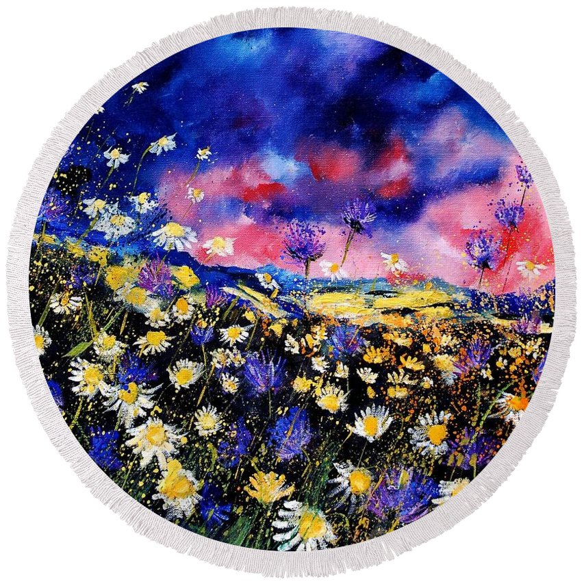 Flowers Round Beach Towel featuring the painting Wildflowers 67 by Pol Ledent