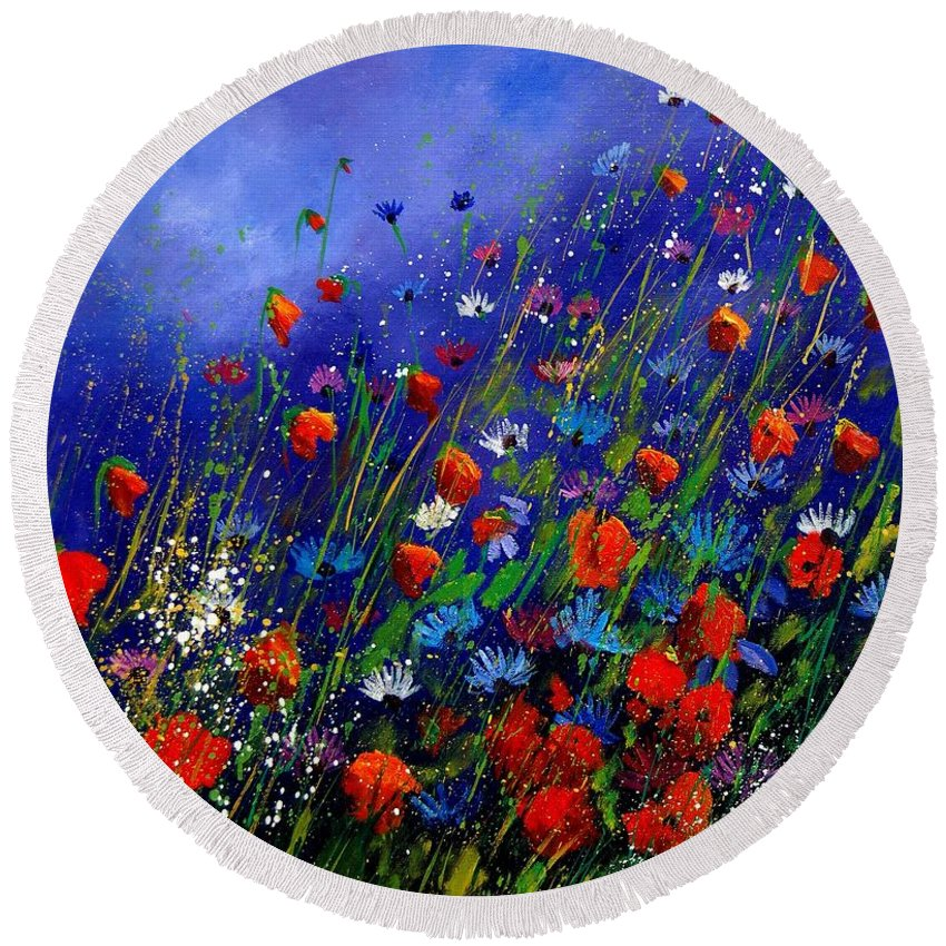 Poppies Round Beach Towel featuring the painting Wildflowers 78 by Pol Ledent