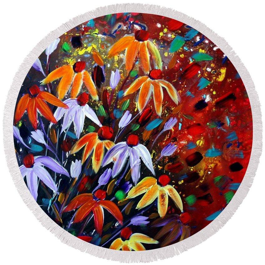 Flowers Round Beach Towel featuring the painting Wildflowers At Sunset by Luiza Vizoli