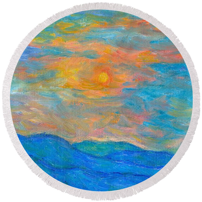 Landscape Round Beach Towel featuring the painting Wildflowers By A Blue Ridge Sunset by Kendall Kessler