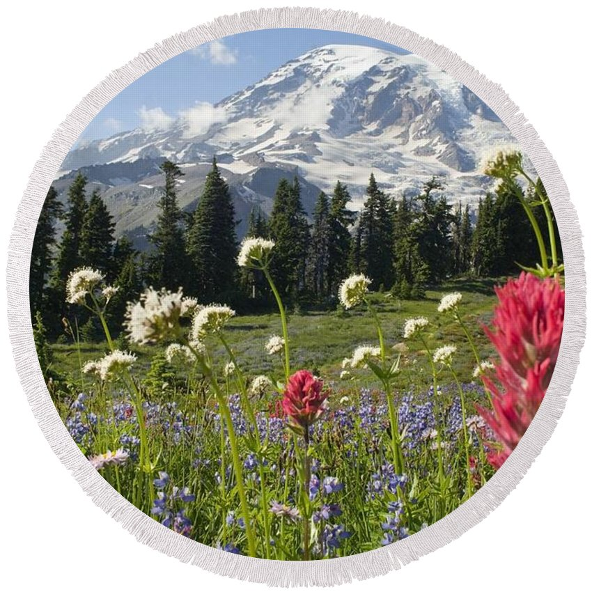 Attractions Round Beach Towel featuring the photograph Wildflowers In Mount Rainier National by Dan Sherwood
