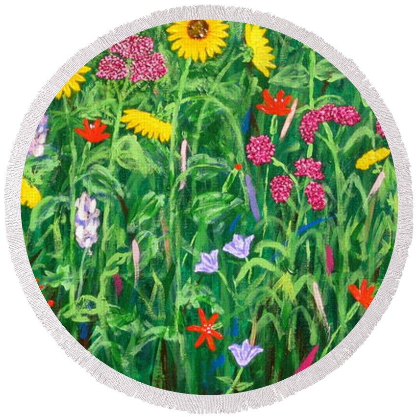 Wildflowers Painting Round Beach Towel featuring the painting Wildflowers by J Loren Reedy
