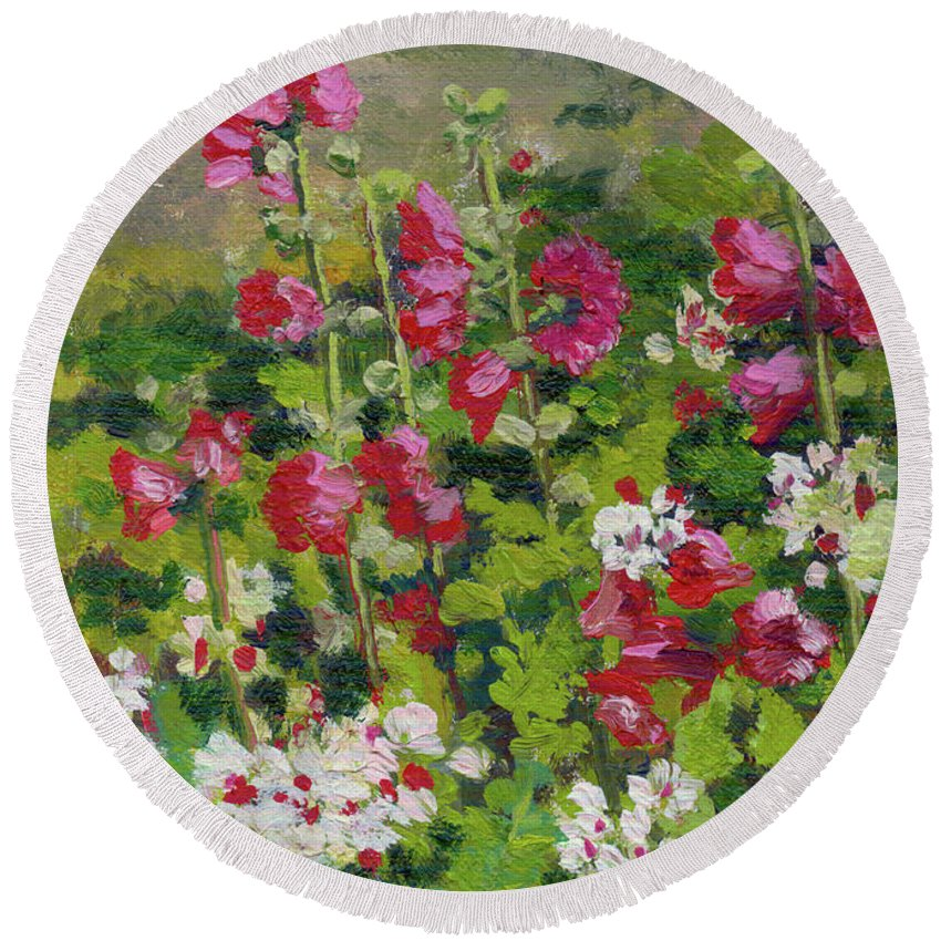 Impressionism Round Beach Towel featuring the painting Wildflowers by Keith Burgess