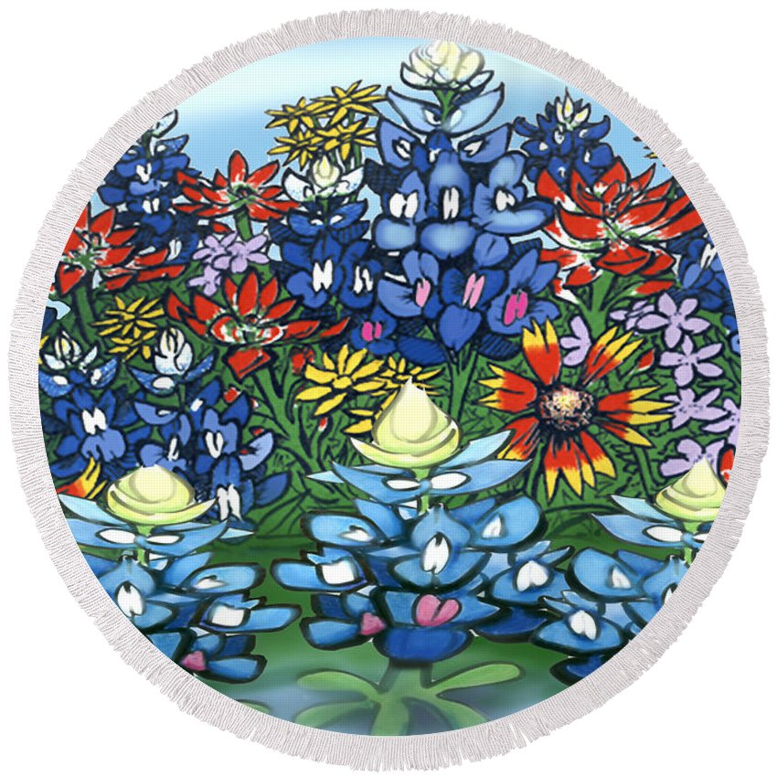 Wildflowers Round Beach Towel featuring the digital art Wildflowers by Kevin Middleton