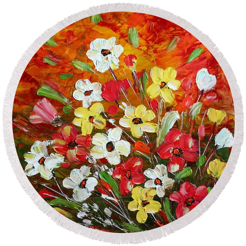 Flowers Round Beach Towel featuring the painting Wildflowers by Luiza Vizoli