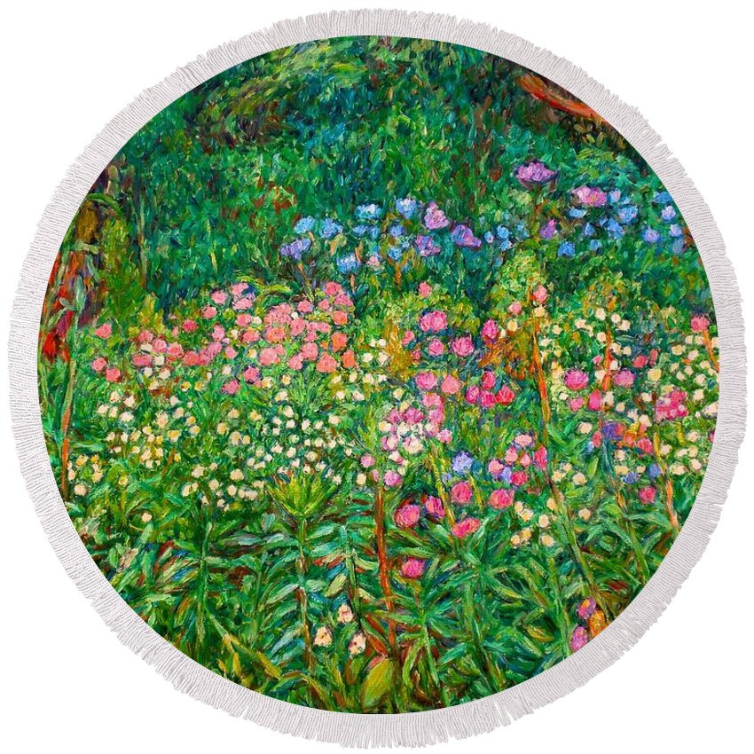 Floral Round Beach Towel featuring the painting Wildflowers Near Fancy Gap by Kendall Kessler