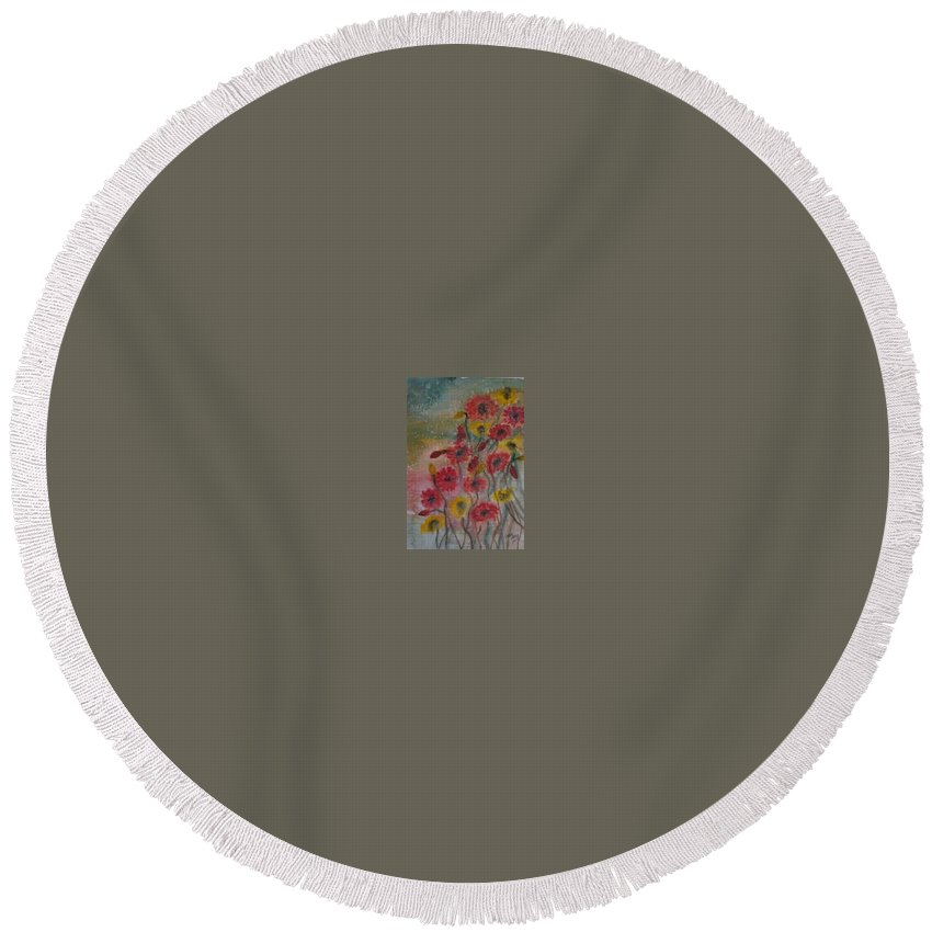 Watercolor Round Beach Towel featuring the painting WILDFLOWERS still life modern print by Derek Mccrea