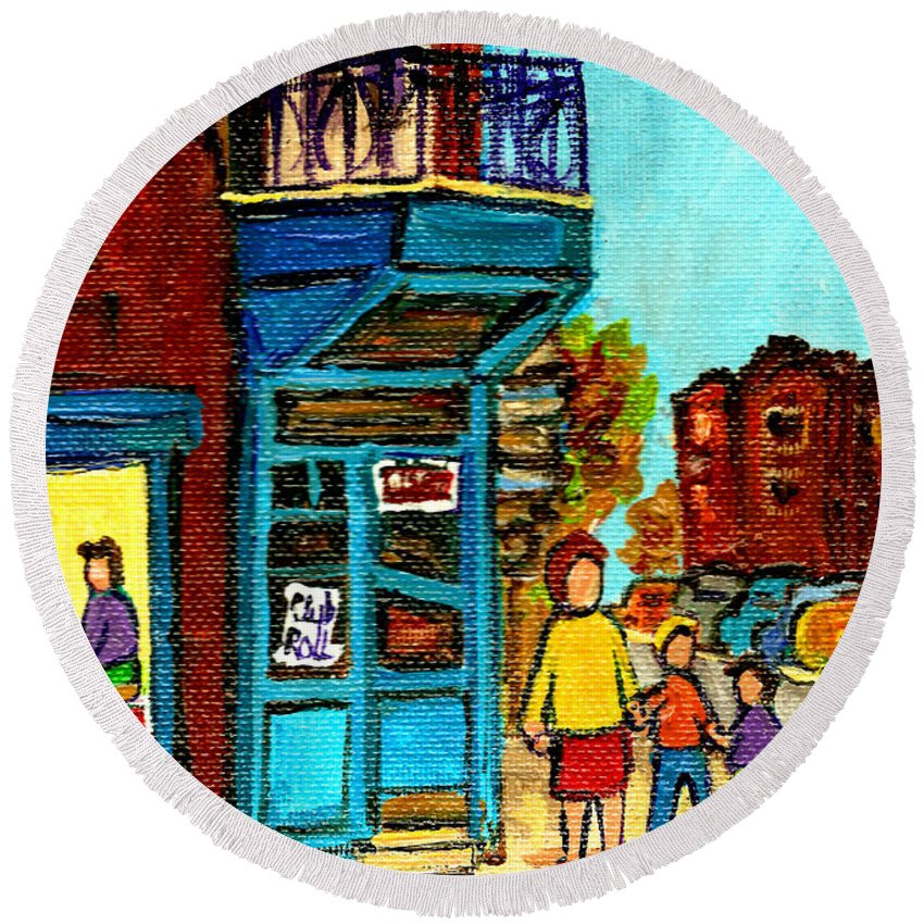 Montreal Round Beach Towel featuring the painting Wilensky's Counter With School Bus Montreal Street Scene by Carole Spandau