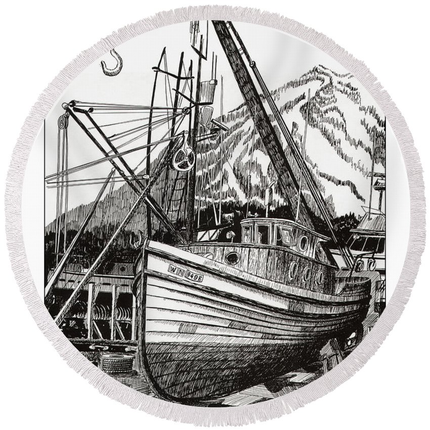 Nautical Shipyard Fishing Boats Round Beach Towel featuring the drawing Will Fish Again Another Day by Jack Pumphrey