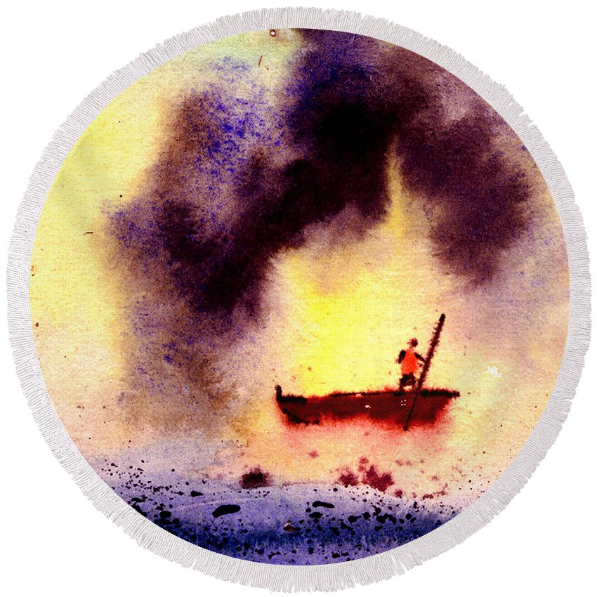 Landscape Round Beach Towel featuring the painting Will Power by Anil Nene