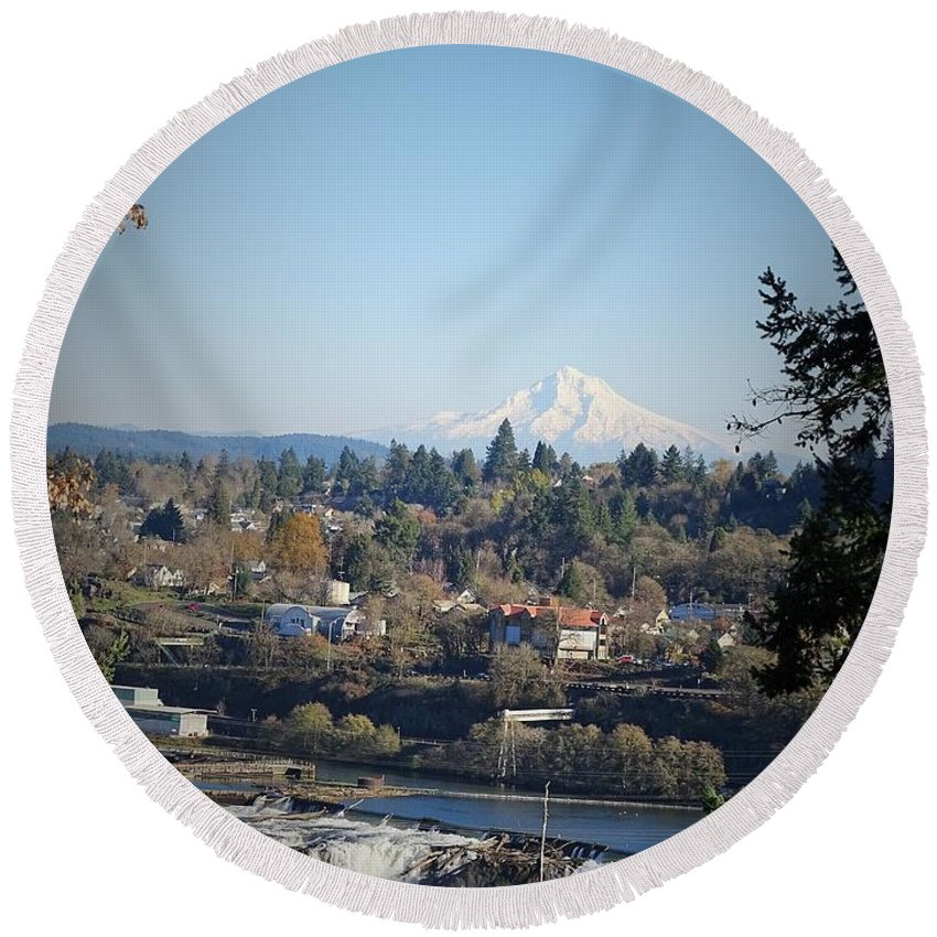 Heather Jane Round Beach Towel featuring the photograph Willamette Falls 2 by Heather Jane