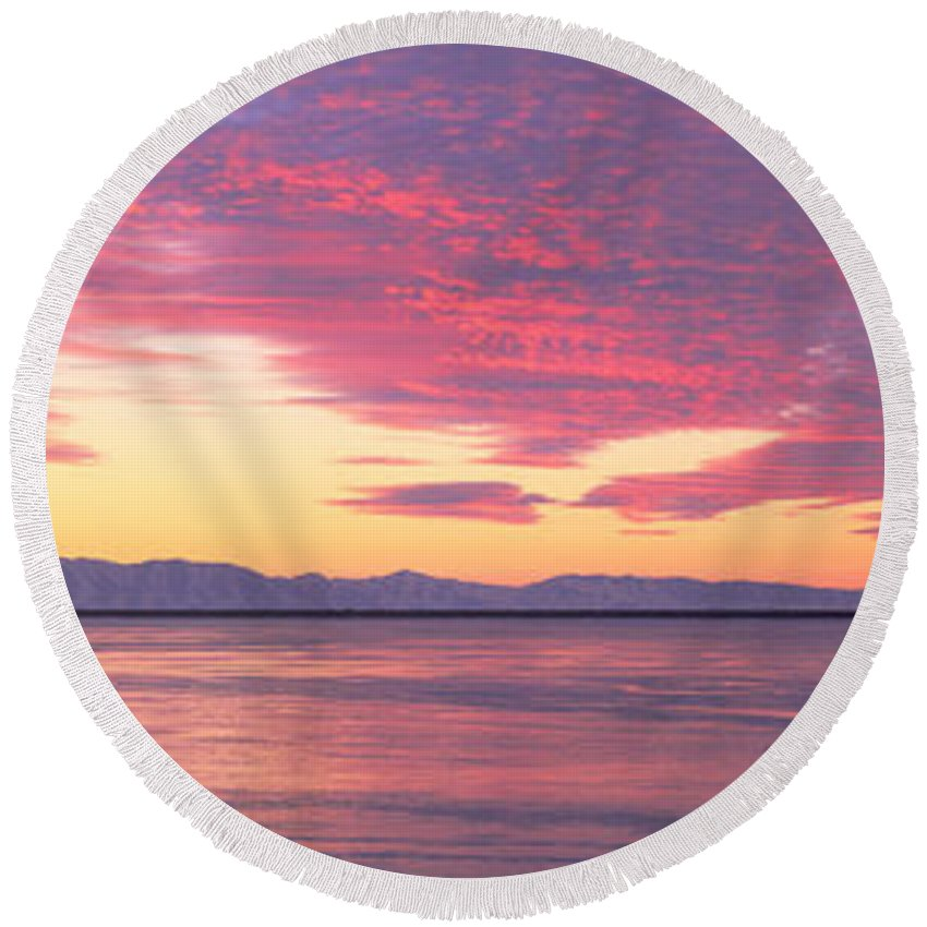 Photography Round Beach Towel featuring the photograph Willard Bay State Park, Near Great Salt by Panoramic Images