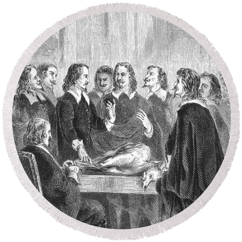 Science Round Beach Towel featuring the photograph William Harvey Explaining Blood by Science Source