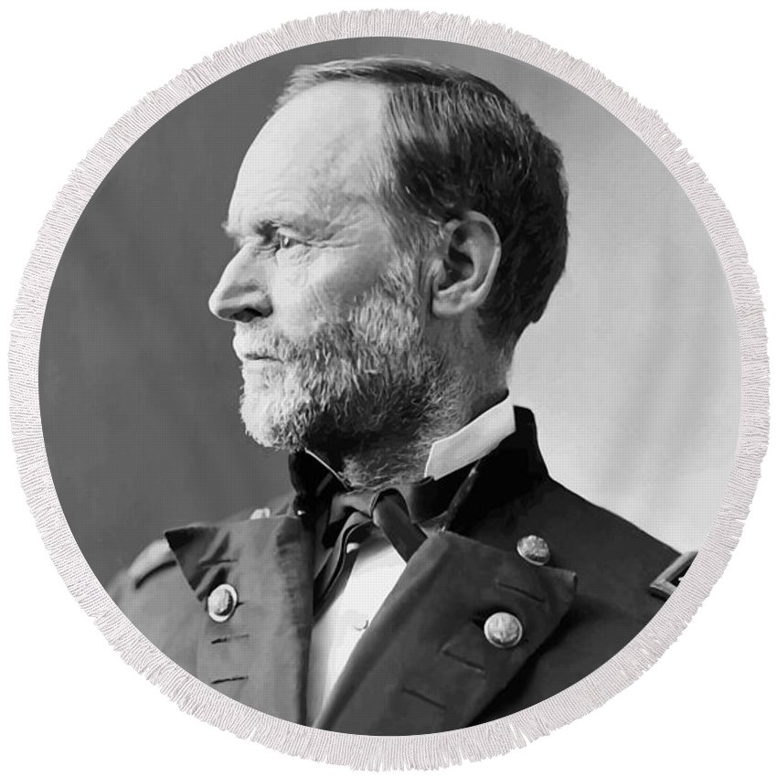 Civil War Round Beach Towel featuring the painting William Tecumseh Sherman by War Is Hell Store
