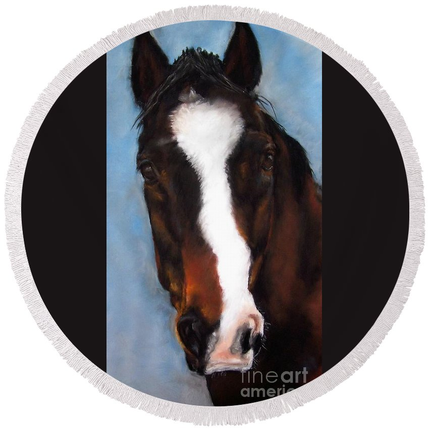 Horse Painting Round Beach Towel featuring the painting Willie Duke by Frances Marino