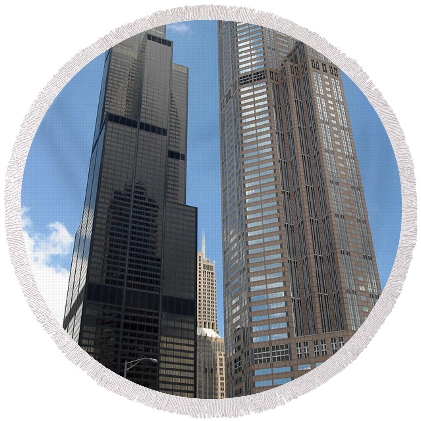 3scape Photos Round Beach Towel featuring the photograph Willis Tower Aka Sears Tower And 311 South Wacker Drive by Adam Romanowicz