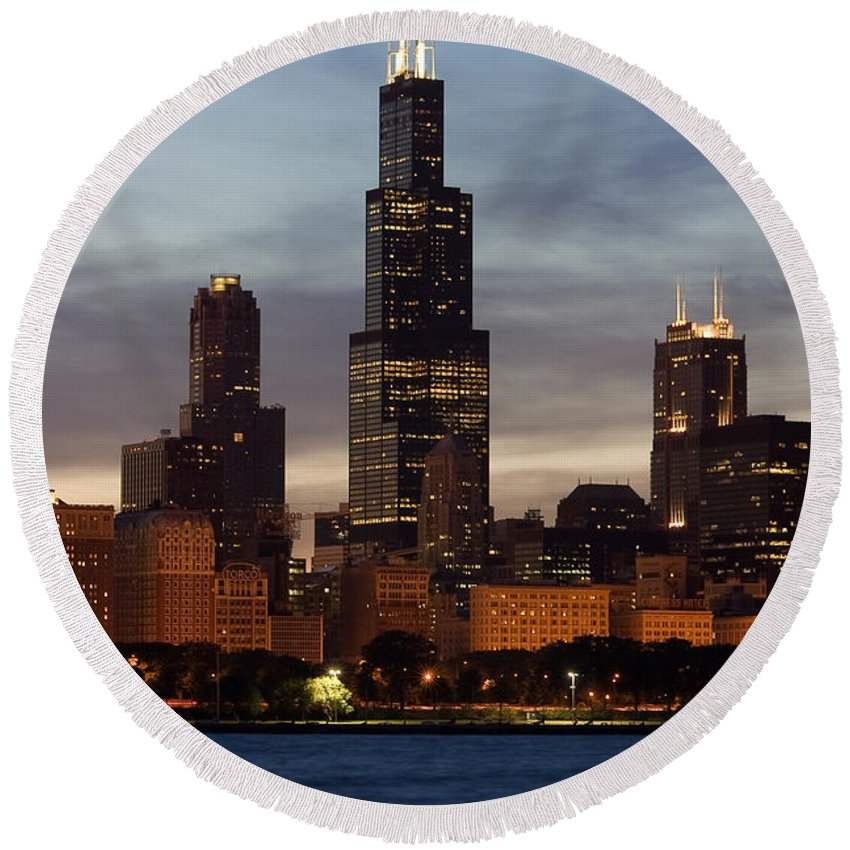 3scape Photos Round Beach Towel featuring the photograph Willis Tower At Dusk Aka Sears Tower by Adam Romanowicz