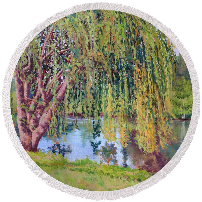 Impressionism Round Beach Towel featuring the painting Willow by Keith Burgess