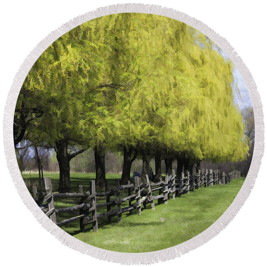 Trees Round Beach Towel featuring the photograph Willows In Spring by Deborah Benoit